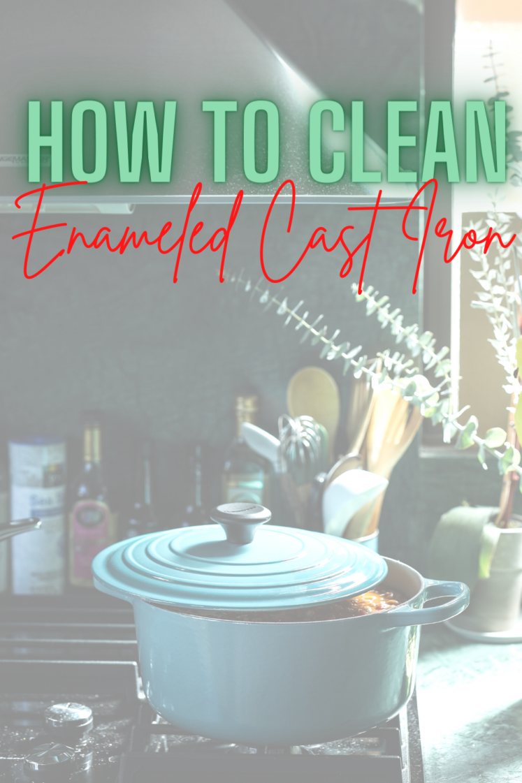 How To Clean Enameled Cast Iron - Wondering how to clean your brand new pan? Today I'm sharing all my best tips for cleaning enameled cast iron!  Cleaning Enameled Cast Iron  How To Clean Cast Iron  Cleaning A Dutch Oven