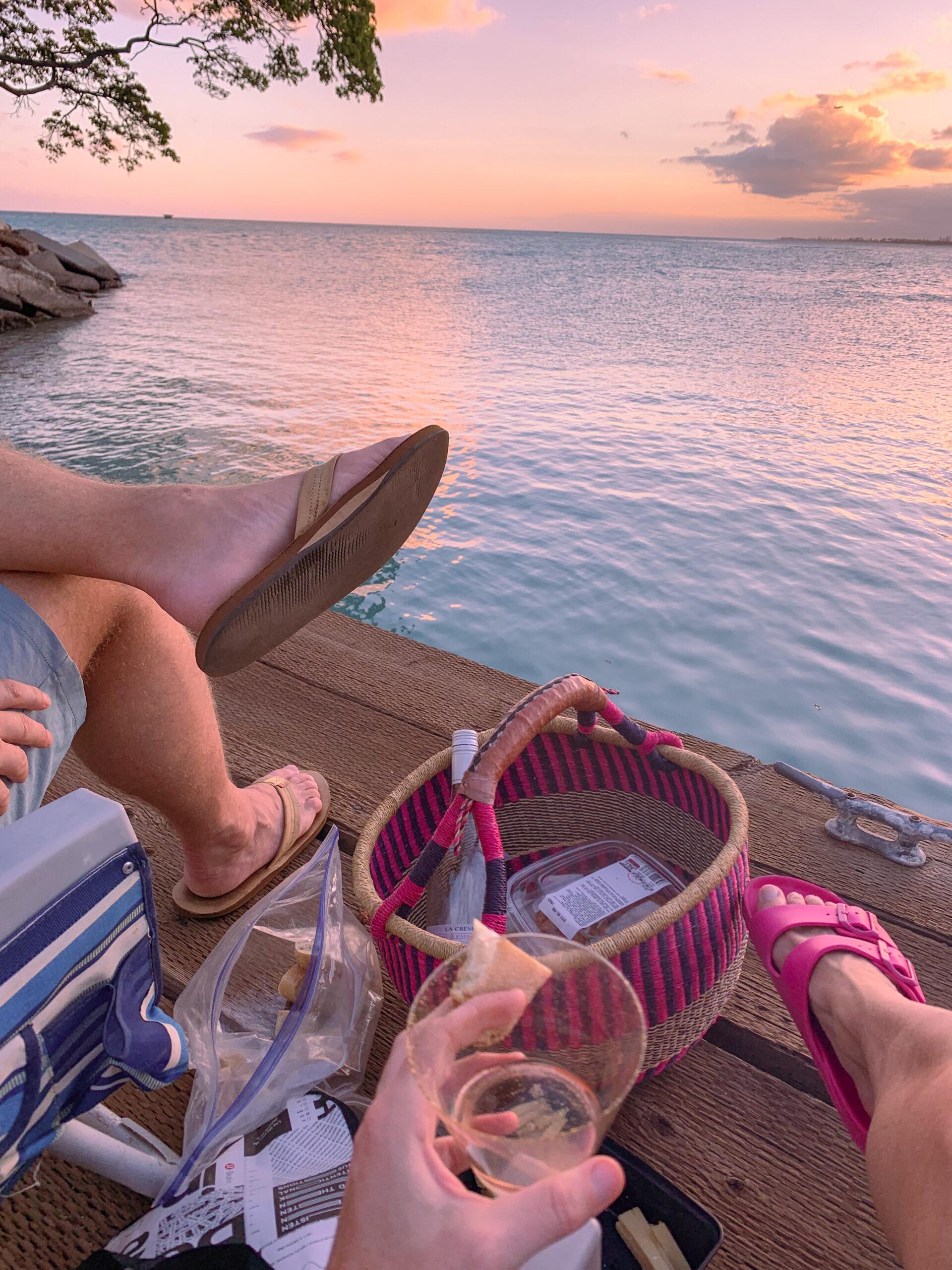 Hawaii sunset picnic